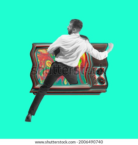 Teleportation to the past. Young man steps into retro tv set. Contemporary art collage 80s. Copy space for text, ad. Flyer. Square composition. Modern artwork.