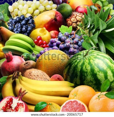 Variety of fruits and berries. Food fruits background. #20065717