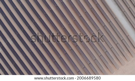 AERIAL. Top view of huge power plant and solar panel at UAE. Royalty-Free Stock Photo #2006689580