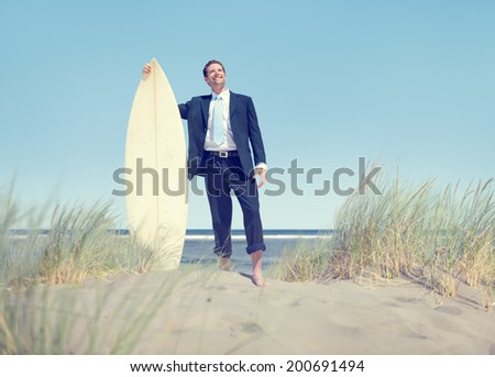 Businessman with Surfboard Standing by the Beach