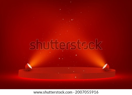 Red Winner stage, podium illuminated by searchlights. Empty pedestal with illuminated projector. Light sources, floodlight. Concept for product. display podium.Vector Royalty-Free Stock Photo #2007055916