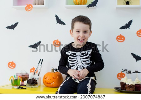 Toddler caucasian boy and grey cat on Halloween party. Halloween decorations and sweets, Halloween party at home