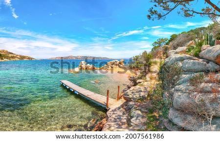 Marvelous view of  beach on Porto Rafael resort. Picturesque seascape of Mediterranean sea. Location: Porto Rafael, Olbia Tempio province, Sardinia, Italy, Europe Royalty-Free Stock Photo #2007561986