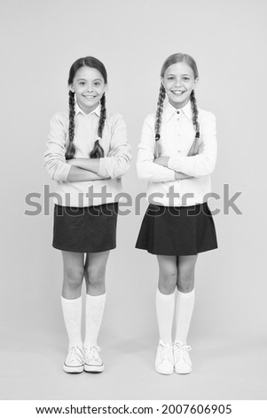 Cheerful mood concept. School friendship. Support and friendship. Problem relations. Friendly relationship. Friendship goals. Cute school girls classmates. First school day. Sisterhood and friendship Royalty-Free Stock Photo #2007606905