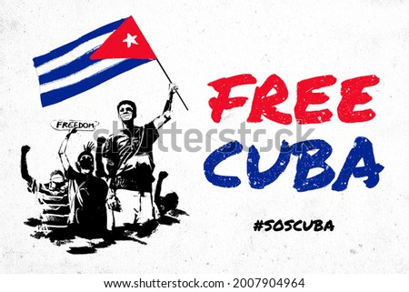Free Cuba, SOS Cuba, stock illustration of young protesters raising the fists and the Cuban flag. Protests in Cuba against the government fighting for freedom and democracy