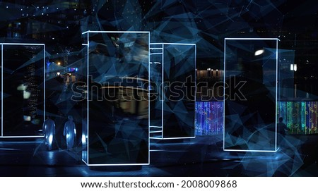 Galaxy abstraction reflection animation, shining galaxy abstract universe cosmic view. Royalty-Free Stock Photo #2008009868