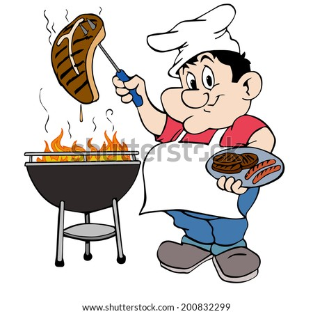 hand drawn cartoon BBQ chef/Barbecue Guy