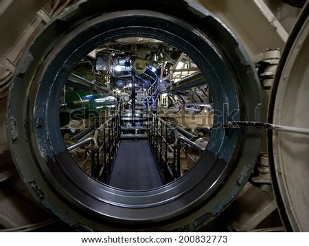 submarine view through manhole, interior with devices and technical equipment