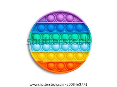 Multi-colored popular silicone anti-stress toy pop it. Colorful anti stress sensory toy fidget push pop it. Royalty-Free Stock Photo #2008463771
