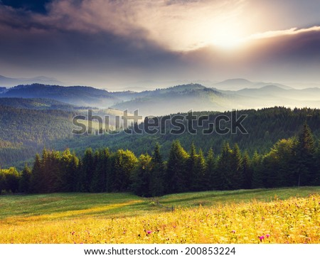 Fantastic morning mountain landscape. Overcast colorful sky. Carpathian, Ukraine, Europe. Beauty world. #200853224