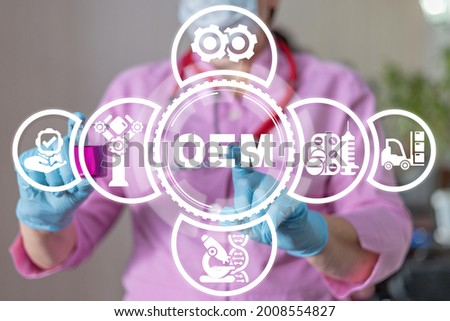 Medical concept of OEM Original Equipment Manufacturer. Pills and drugs production. Royalty-Free Stock Photo #2008554827