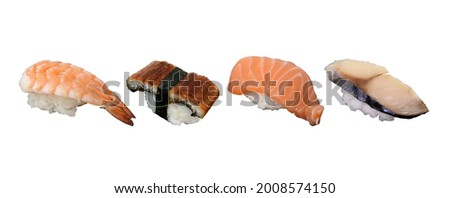 Various Sushi of Shrimp, Eel or Unagi Sushi, Raw Salmon and Saba, isolated on white background. Usable for any Japanese Restaurant as Picture Menu and for Japanese food concept.