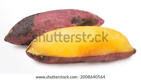 Baked sweet potato isolated on white background, Japanese Roasted Sweet Potato on white background. Royalty-Free Stock Photo #2008640564