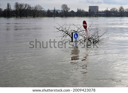 Extreme weather: Flooded pedestrian zone in Cologne, Germany Royalty-Free Stock Photo #2009423078