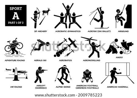 Sport games alphabet A vector icons pictogram. 3D archery, acrobatic gymnastics, acroski, abseiling, adventure racing, aerials ski, aikido, airsoft, alpine skiing, American Football, and Handball.
