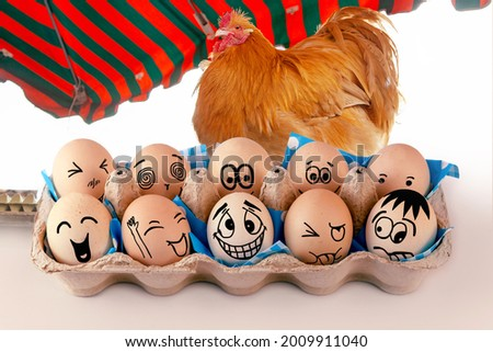 Eggs with different faces in eggbox and and a Orpington Hen, Rooster as advertising. Types of temperaments. Sanguine, choleric, angry, phlegmatic, happy or melancholic. Face illustrated on eggs