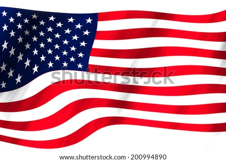 An American flag on white background. #200994890