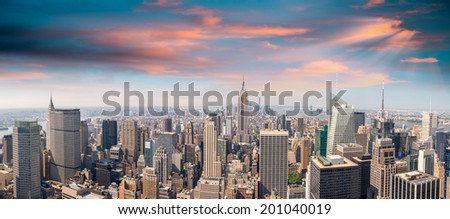Sunset in Manhattan. Midtown and downtown aerial view - New York City. #201040019
