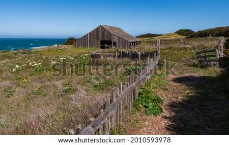 Historic barn at Sea Ranch on the Pacific Coast of California Royalty-Free Stock Photo #2010593978