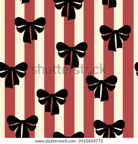 Bow-knot seamless pattern Vector illustration in flat design Black bow on striped red-beige background Retro style