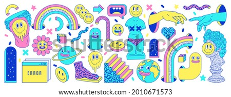Sticker pack of funny cartoon characters, greek ancient statues, emoji and surreal elements. Vector illustration. Big set of comic elements in trendy psychedelic weird cartoon style. Royalty-Free Stock Photo #2010671573