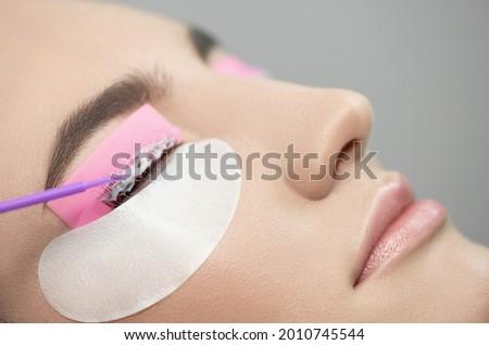 Master applies care perm cream to eyelashes. Eyelash Care Treatment: eyelash lifting, lash lamination and extension. Close-up of beauty model's face during lash lift laminating botox procedure.  Royalty-Free Stock Photo #2010745544