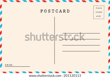 Back of airmail blank postcard. Royalty-Free Stock Photo #201120113