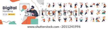 Social Media Marketing illustrations. Mega set. Collection of scenes with men and women taking part in business activities. Trendy vector style Royalty-Free Stock Photo #2011241996