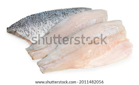 Fresh white striped bass fish isolated on white background, White striped bass fish isolated on white with clipping path. Royalty-Free Stock Photo #2011482056
