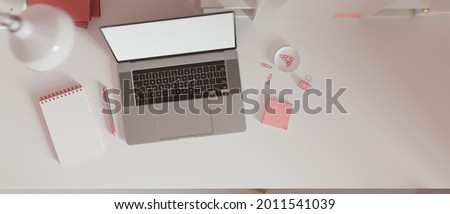 Top view minimal work space with copy space, female work space, blank screen laptop with pink paper clip, notepad and pink stationery on white desk, 3d rendering, 3d illustration