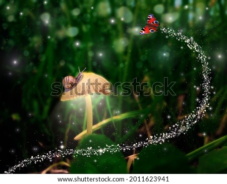 Fabulous picture. A snail on a glowing mushroom, fireflies and a flying sparkling butterfly