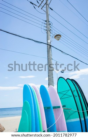 Surfing boards in different colors waiting for guests