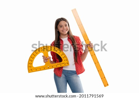 happy teen girl hold protractor ruler measuring size and angle degree at school, education.