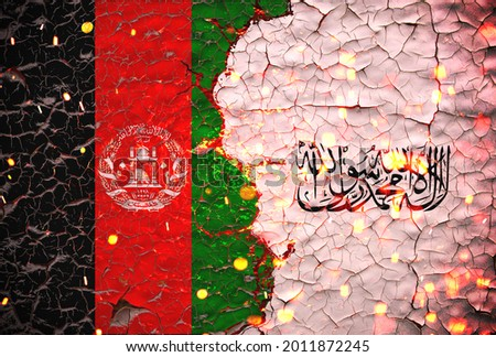 Afghanistan and Taliban flags painted over cracked concrete wall.And lava flows behind. Afghanistan vs Taliban war. Royalty-Free Stock Photo #2011872245