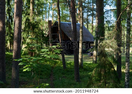 Countryside old rural house in the middle of the forest, like russian children's fairy tales. selective focus. Royalty-Free Stock Photo #2011948724