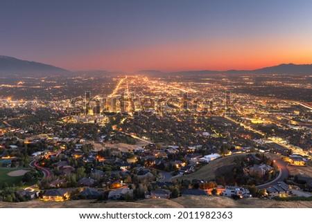 Salt Lake City, Utah, USA downtown city skyline at dusk. Royalty-Free Stock Photo #2011982363