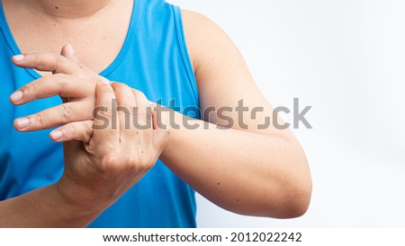 Hand numbness after being vaccinated against Covid-19. Loss of sensation and temperature Muscle pain, weak muscles, numbness of the hands and feet, Office syndrome.Guillain Barre Syndrome Concept