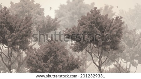 mural design tree wallpaper forest Royalty-Free Stock Photo #2012329331