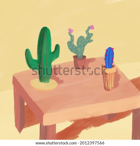 Cactus on table in warm tones illustration. Clip art of cactus cute. Design for post cards, print, textile