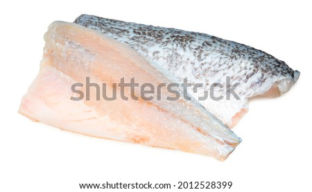 Fresh white striped bass fish isolated on white background, White striped bass fish isolated on white with clipping path. Royalty-Free Stock Photo #2012528399