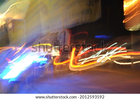 painting with light, abstract from streaks of light with lowspeed photography technique.