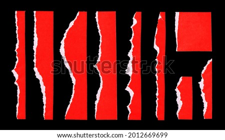 Set of High Quality Red Torn Ripped Paper Cardboard Edges Pieces Isolated on Black. Rough Grunge Elements for Collage. Royalty-Free Stock Photo #2012669699