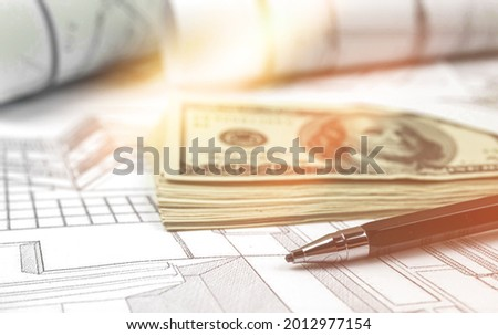 Expensive engineering project in progress. Construction concept background Royalty-Free Stock Photo #2012977154