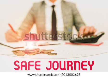 Conceptual caption Safe Journey. Conceptual photo Blessing Bid farewell Drive carefully Use seatbelt Strap New home installments and investments plans represeneted by lady