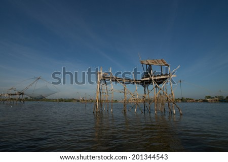 Fishing Village in Phatthalung / Net Fishing Thailand / Thailand Shrimp Fishing / South Thailand  #201344543
