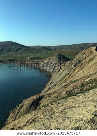 Scenic View Of Sea Against Clear Blue Sky - stock photo. High quality photo
