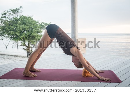 Young slim lady doing yoga downward facing dog on a beach with sunset over Bali in the background #201358139