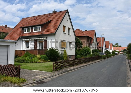 Small single-family houses from the German post-war period in Stadthagen  Royalty-Free Stock Photo #2013767096