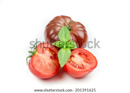 Tomato and basil leaf isolated on white background #201391625