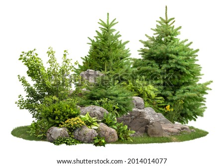 Cutout stones surrounded by fir trees and green plants. Garden design isolated on white background. Decorative shrub for landscaping. High quality clipping mask for professionnal composition. Royalty-Free Stock Photo #2014014077